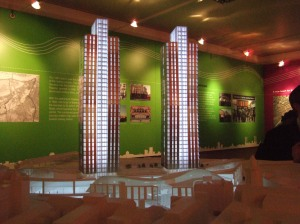 Scale model of the twin towers at Clapham Junction