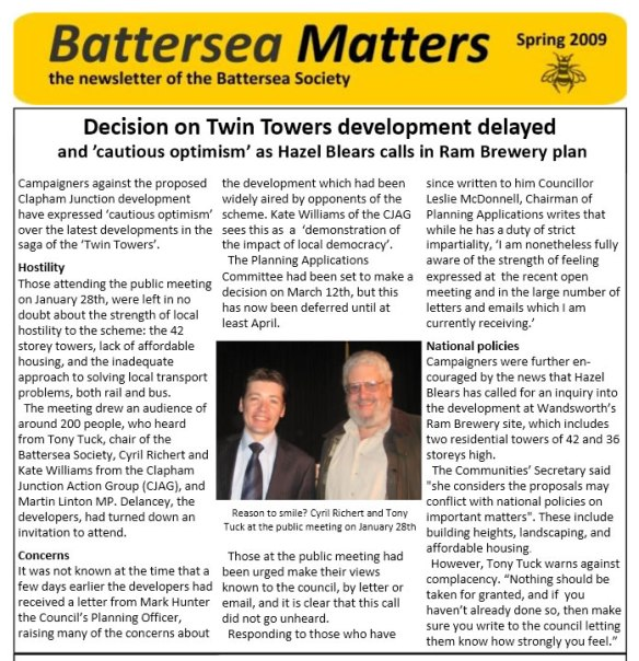 Battersea Society newsletter - Spring 2009