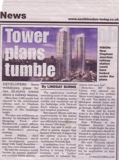 South London Press - Tower plans tumble - 22/05/2009