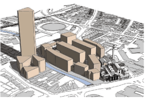 The Ram Brewery proposal: architect graph showing the massing of the scheme