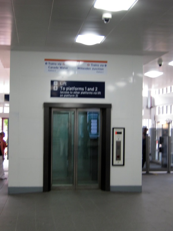 "The lift at the Grant Road Exit at Clapham Junction is ""broken until further notice""."