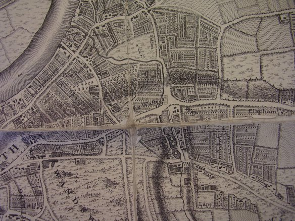 John Rocque's map of 1745 showing roads that are recognisable today, but most of the conservation area as fields with the exception of a few buildings along St John's Road with the old Falcon Brook behind them