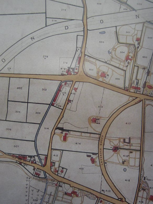 The tithe map of 1838 shows the railway laid out but as yet undeveloped. Amongst the small number of country villas shown is the Chestnuts on Lavender Hill (not labelled), a house that has been much altered but of which the remnants survive amongst the terrace housing on Mossbury Road (outside CA)