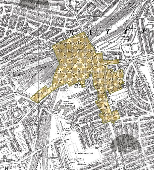 The OS map of 1896 shows the conservation area largely as we see it today. There are now two pubs at the Battersea Rise crossroads (although today only the Northcote survives), Arding and Hobbs has been built, the Falcon Brook has been culverted and the line of a trolley bus is shown along St John's Hill, Lavender Hill and Falcon Road