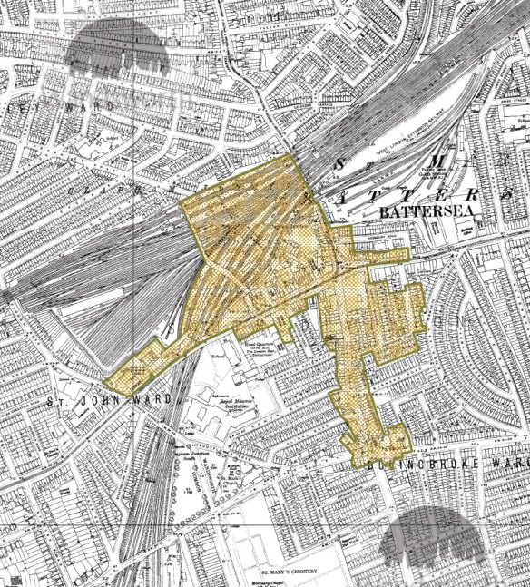 The OS map of 1919 shows the conservation area almost complete although the Battersea Grammar School has not yet been replaced by the Granada Cinema. The footbridge has been built across the railway and the Clapham Grand is shown as the Grand Palace
