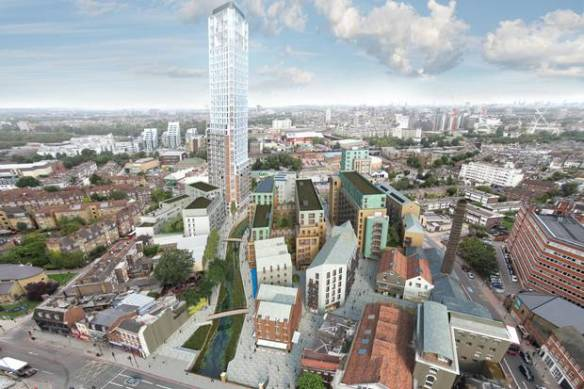 A computer image of Ram Brewery site in Wandsworth with 36-storey tower and flats, as displayed by the Evening Standard