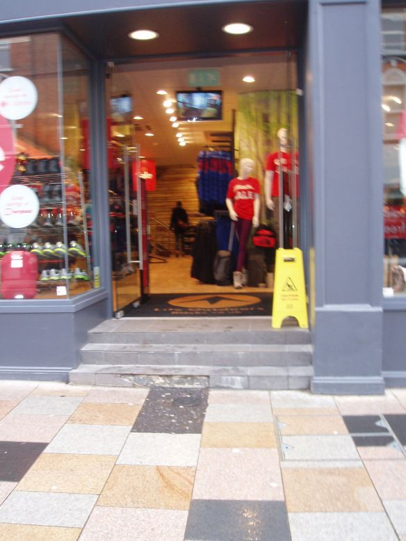 Outdoor Clothes Blacks' entrance in St John's Rd