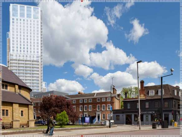 Tower proposed by developers on Ram Brewery site.