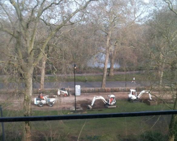 Diggers enlarging track