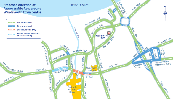 Wandsworth proposed direction traffic flow