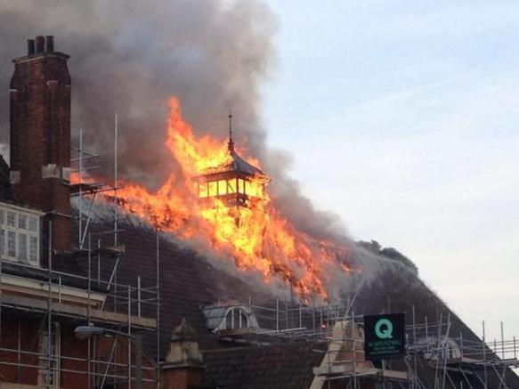 Fire on Battersea Art Centre - Twitter pic